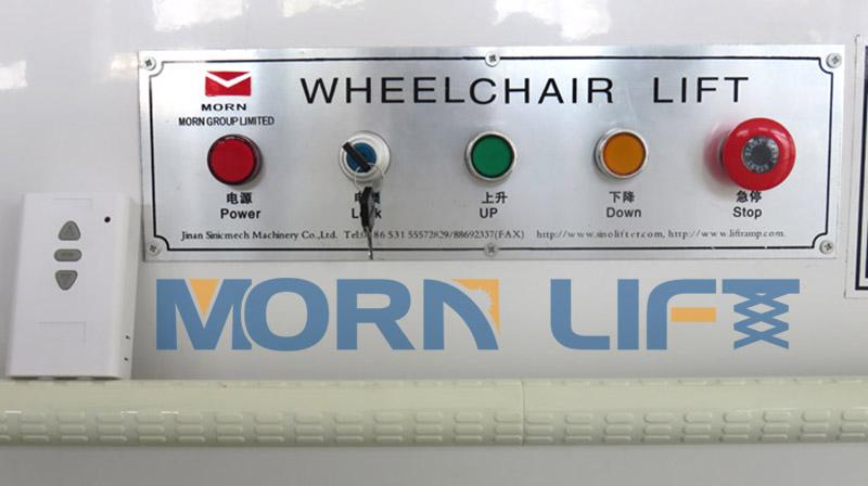 platform control panel of wheelchair lift