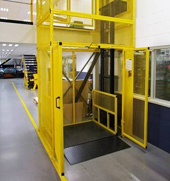 goods lift elevator with steel mesh enclosure