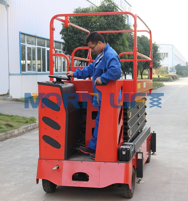 mobile scissor lift with steering control