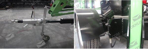 hydraulic trailing boom lift detail