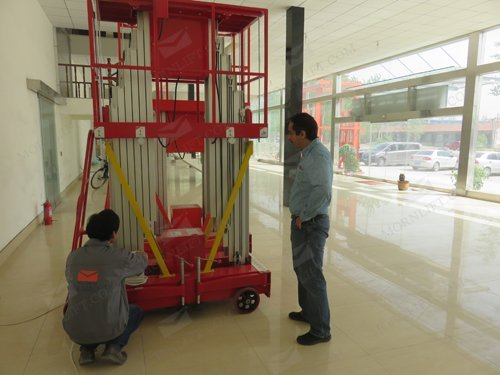 our client testing our mast lift