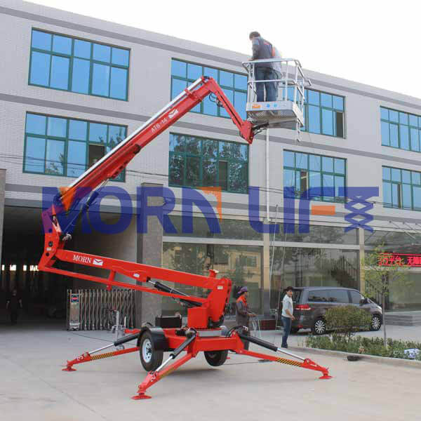 Boom lift cherry picker used for high-altitude operations