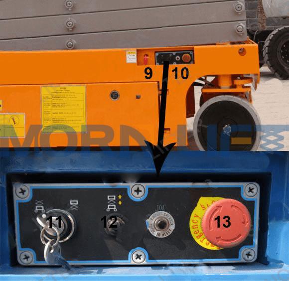 self-propelled scissor lift control button