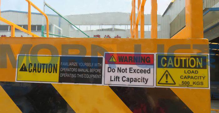 mobile scissor lift warning marking