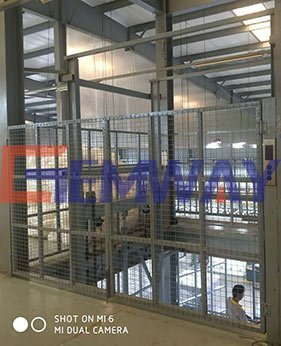 full caged cargo lift application