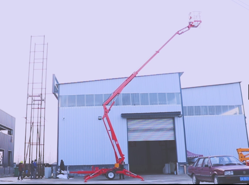 MORN LIFT Towable Boom Lift with Rotating Platform Speeds Up Your Aerial Work