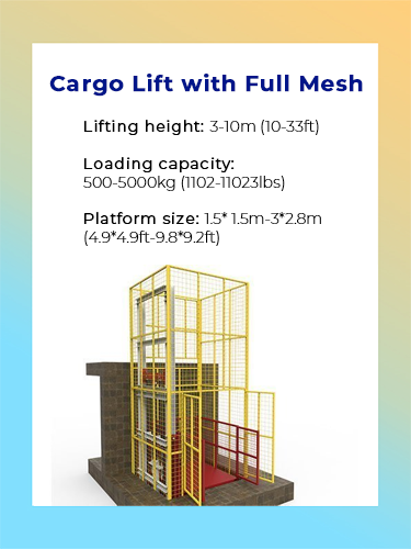 Cargo lift with full mesh 1
